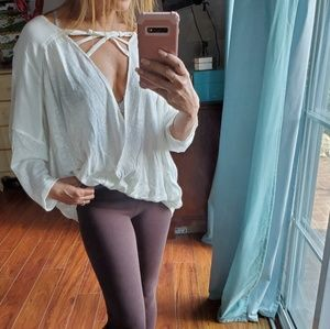 Free People for Urban Outfitters linen blend top